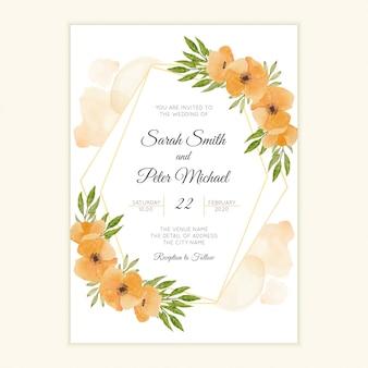 Cartão de convite de casamento floral aquarela papoula laranja