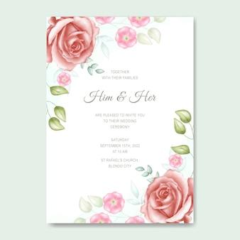 Cartão de convite de casamento floral aquarela simples