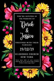 Cartão de convite de casamento floral aquarela