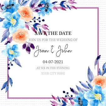 Cartão de convite de casamento floral azul com aquarela
