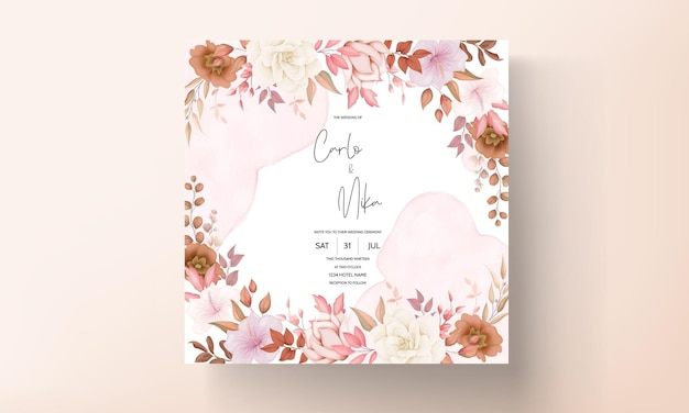 Cartão de convite de casamento floral boho