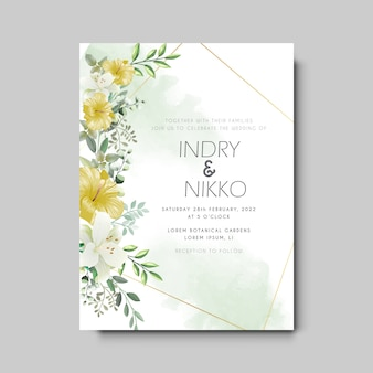 Cartão de convite de casamento floral bonito e romântico