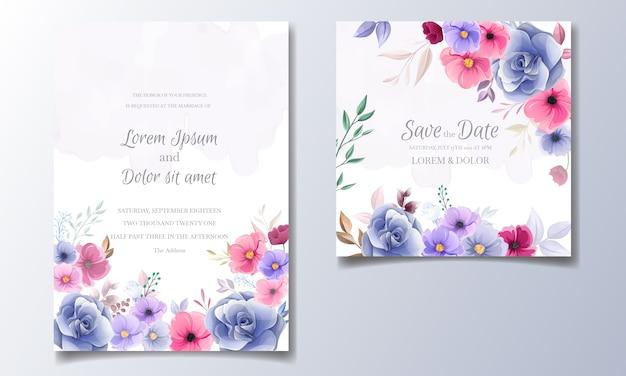 Cartão de convite de casamento floral colorido mão desenhada