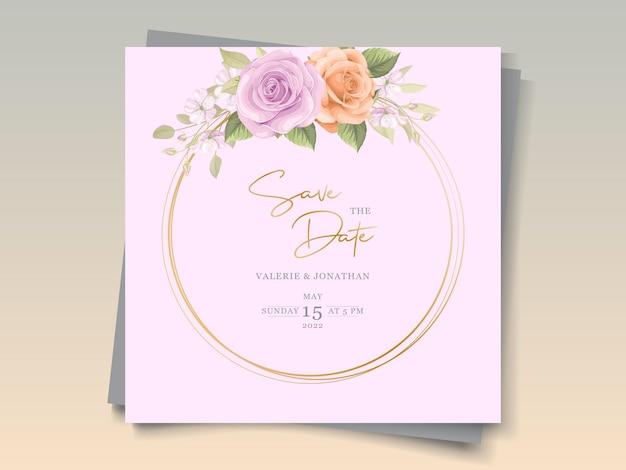 Cartão de convite de casamento floral colorido suave e elegante