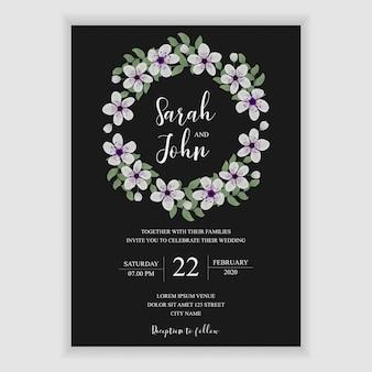 Cartão de convite de casamento floral com decoração de flor de cerejeira