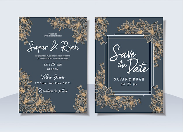 Cartão de convite de casamento floral com desenho de luxo elegante