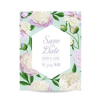 Cartão de convite de casamento floral com flores de peônia