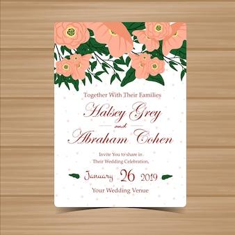 Cartão de convite de casamento floral com linda flor