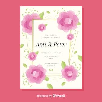 Cartão de convite de casamento floral com moldura dourada