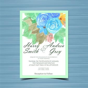 Cartão de convite de casamento floral com rosas azuis