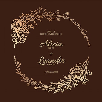 Cartão de convite de casamento floral de folhas bonitas. grinalda decorativa, modelo de quadro.