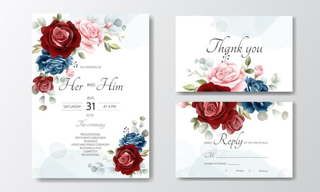 Cartão de convite de casamento floral desenhada de mão