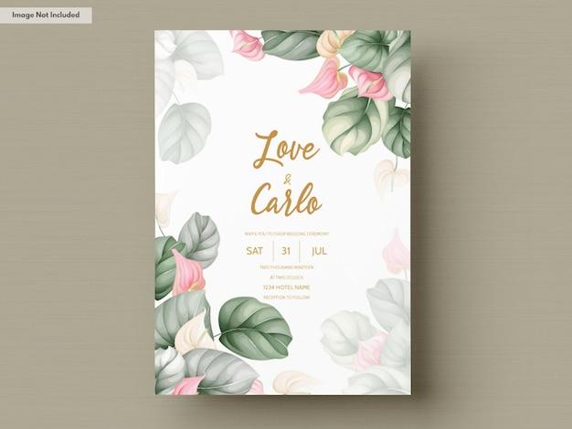 Cartão de convite de casamento floral desenhado a mão bonita