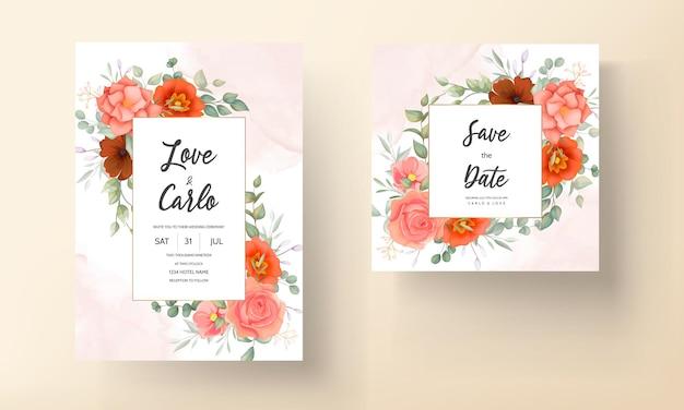 Cartão de convite de casamento floral desenhado à mão elegante