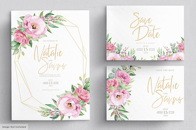 Cartão de convite de casamento floral desenhado à mão em aquarela elegante