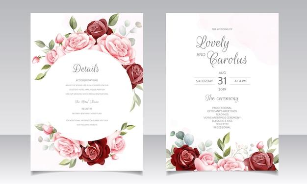 Cartão de convite de casamento floral desenhado à mão