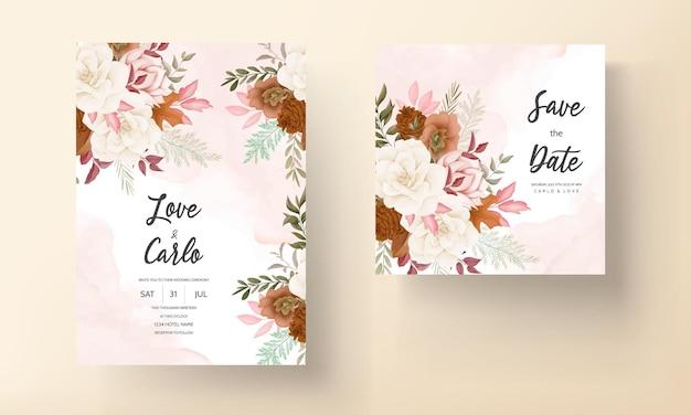 Cartão de convite de casamento floral doce desenhado à mão elegante