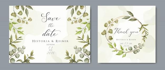Cartão de convite de casamento floral dourado e salvar o design de minimalismo de data com folhas botânicas verdes