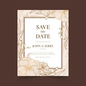 Cartão de convite de casamento floral dourado