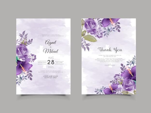 Cartão de convite de casamento floral elegante e bonito