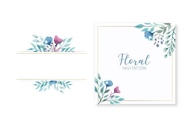 Cartão de convite de casamento floral elegante e quadro