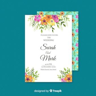 Cartão de convite de casamento floral elegante