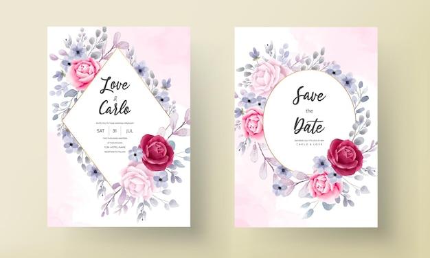 Cartão de convite de casamento floral em aquarela elegante