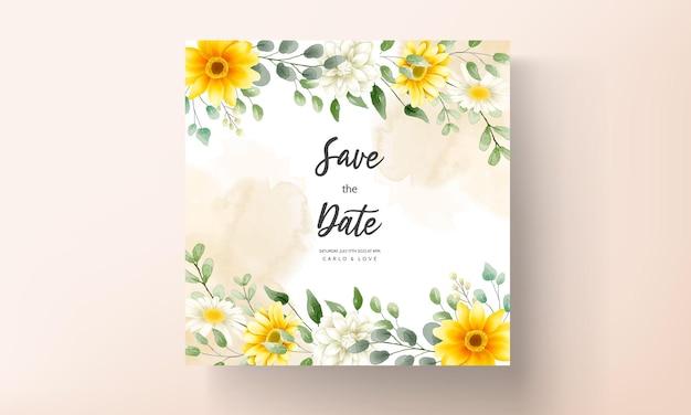 Cartão de convite de casamento floral em aquarela lindo design floral