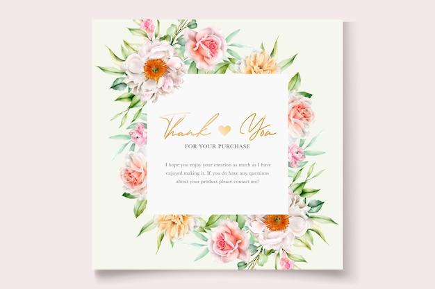 Cartão de convite de casamento floral em aquarela