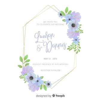 Cartão de convite de casamento floral frame