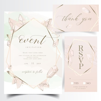Cartão de convite de casamento floral geométrica com pedras preciosas