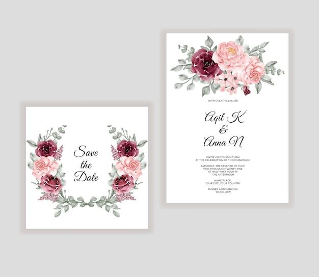 Cartão de convite de casamento floral lindo buquê em aquarela