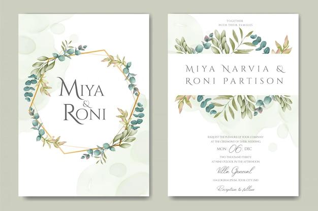 Cartão de convite de casamento floral lindo com moldura dourada