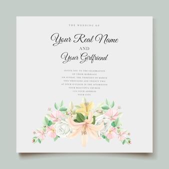 Cartão de convite de casamento floral lírio