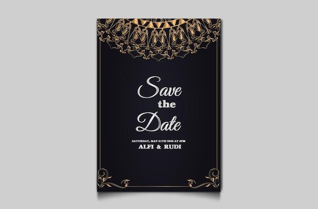 Cartão de convite de casamento floral luxuoso