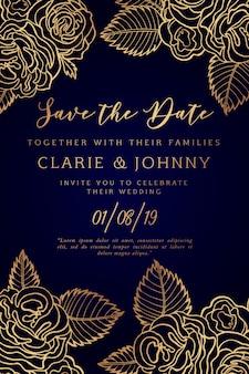 Cartão de convite de casamento floral mão desenhada