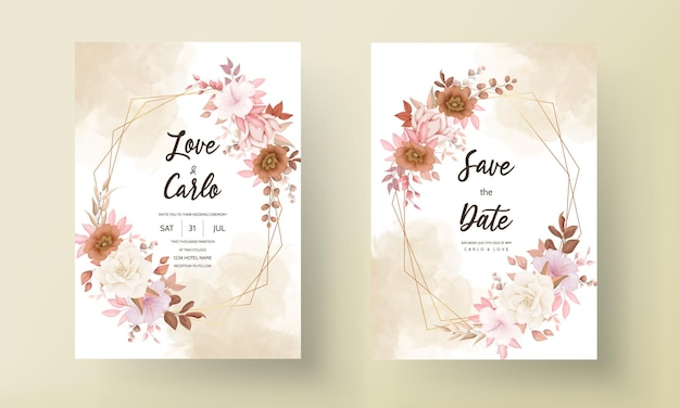 Cartão de convite de casamento floral marrom elegante desenhado à mão romântico