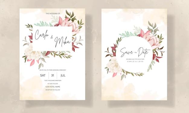 Cartão de convite de casamento floral outono com flor de rosa e pinheiro