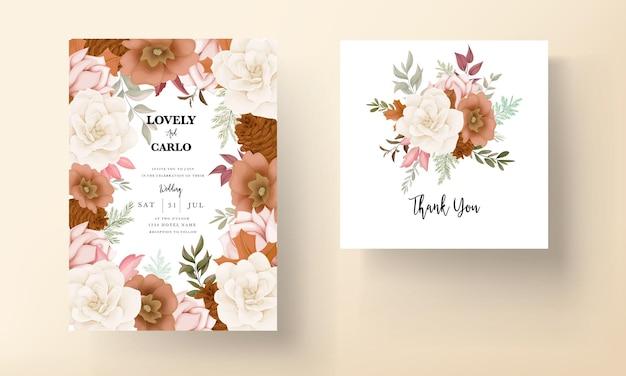 Cartão de convite de casamento floral outono elegante com flores de rosa e pinheiro
