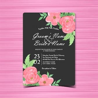 Cartão de convite de casamento floral preto e rosa