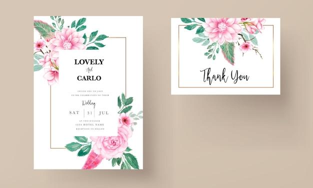 Cartão de convite de casamento floral rosa aquarela doce