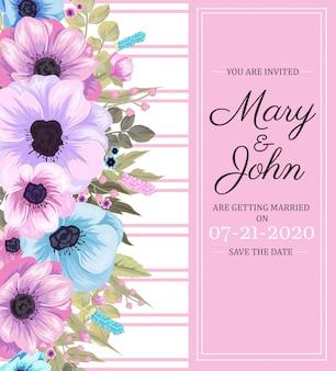 Cartão de convite de casamento floral rosa e azul