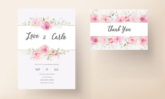 Cartão de convite de casamento floral rosa suave