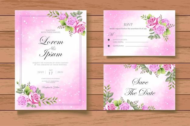 Cartão de convite de casamento floral splash em aquarela