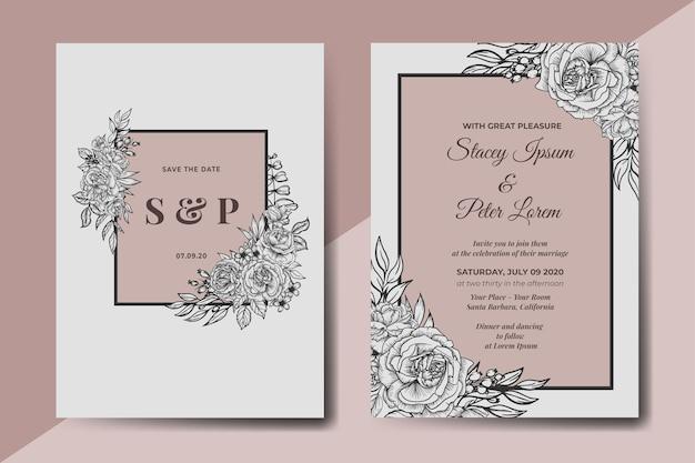 Cartão de convite de casamento floral vintage desenhado à mão
