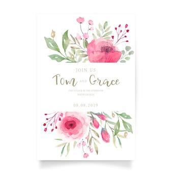 Cartão de convite de casamento floral