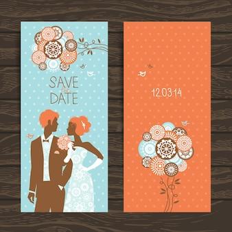 Cartão de convite de casamento. ilustração vintage com recém-casados