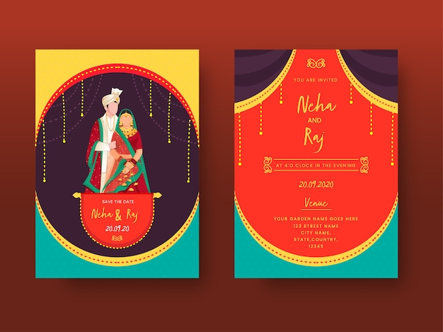 Cartão de convite de casamento indiano colorido ou conjunto de modelo com imagem de casal de desenhos animados e detalhes do local.