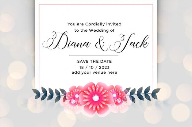 Cartão de convite de casamento linda flor