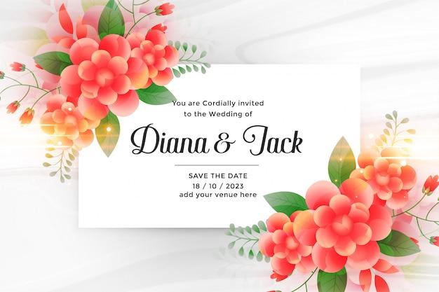 Cartão de convite de casamento lindo com decoração de flor